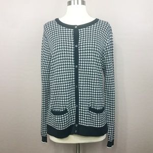 Lands End Button Down Houndstooth Cardigan Sweater